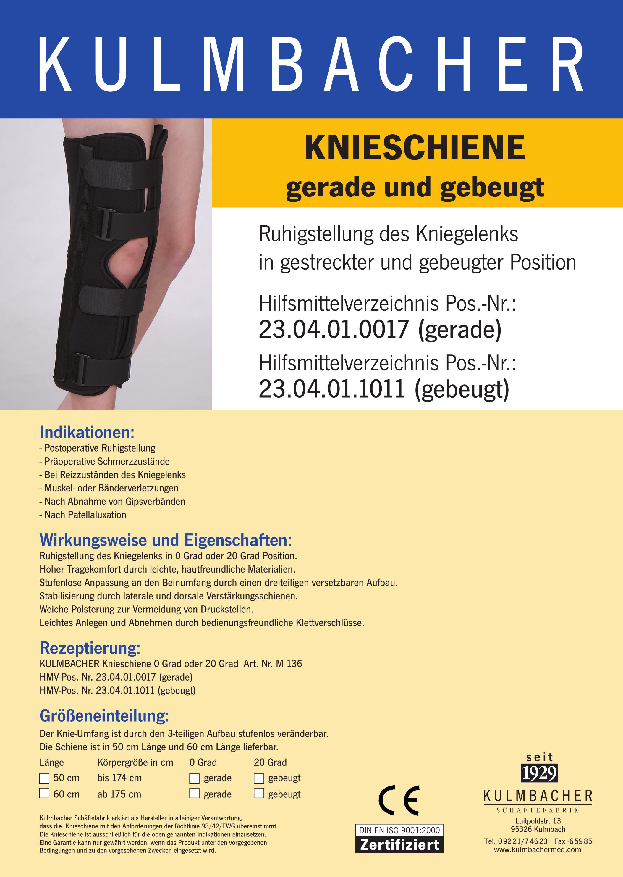 Knieorthese zu Immobilisierung Prospekt