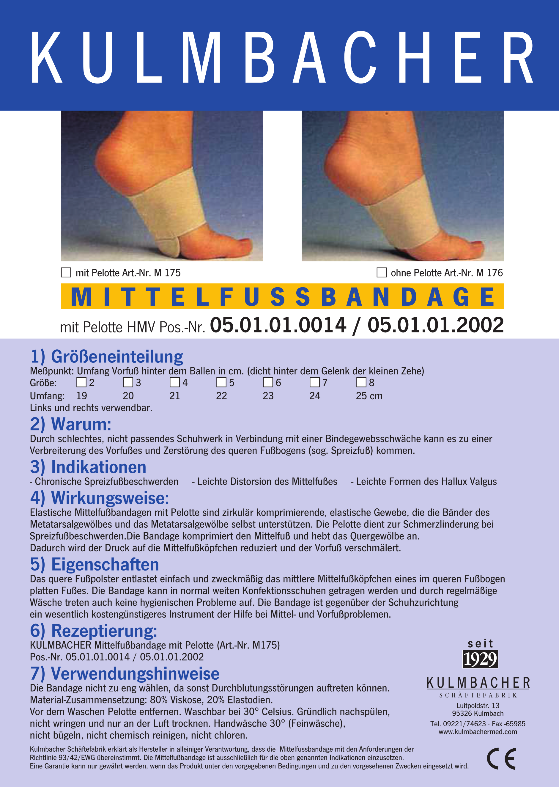 MITTELFUSS Bandage Prospekt