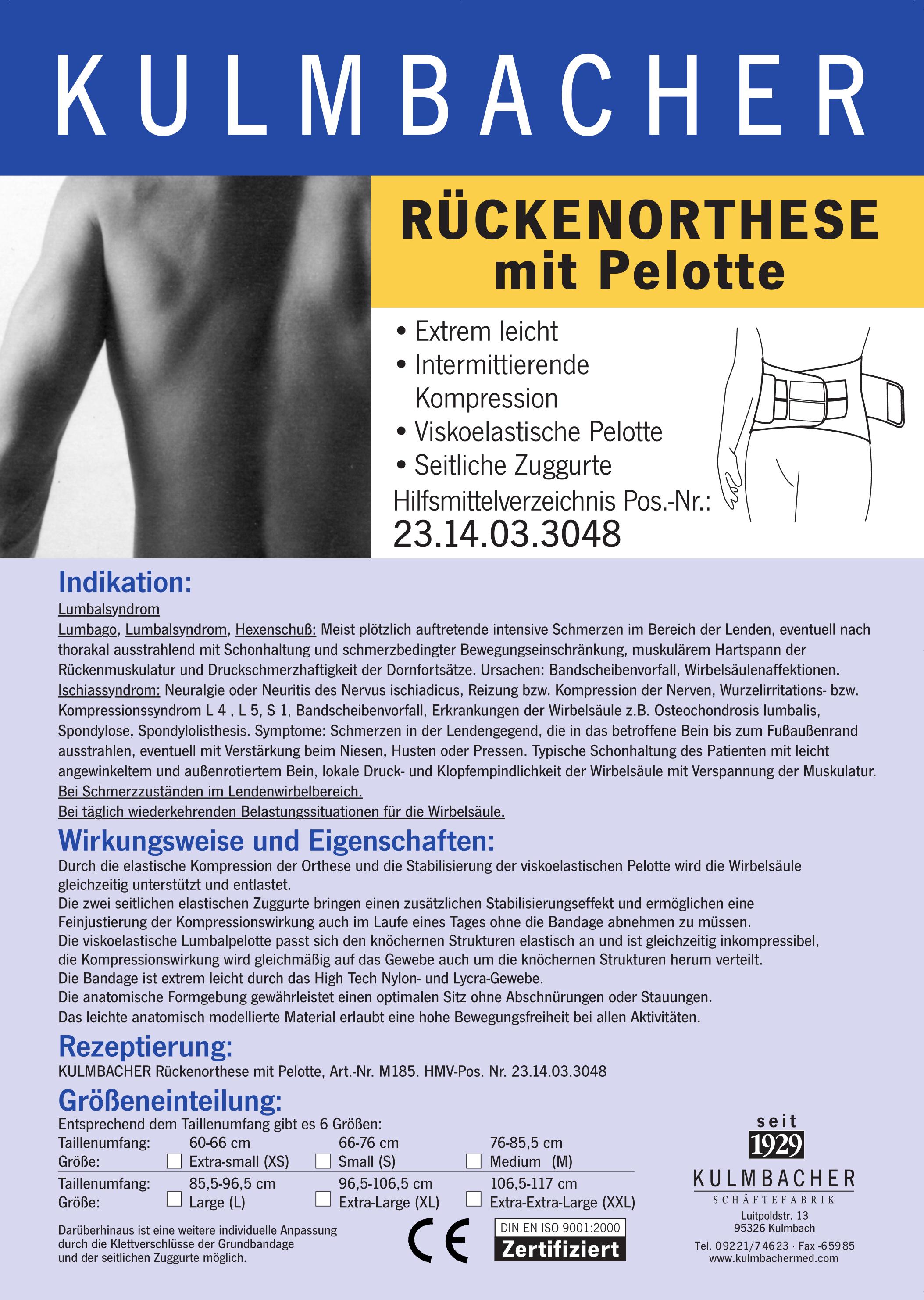 Rückenorthese mit Pelotte Prospekt