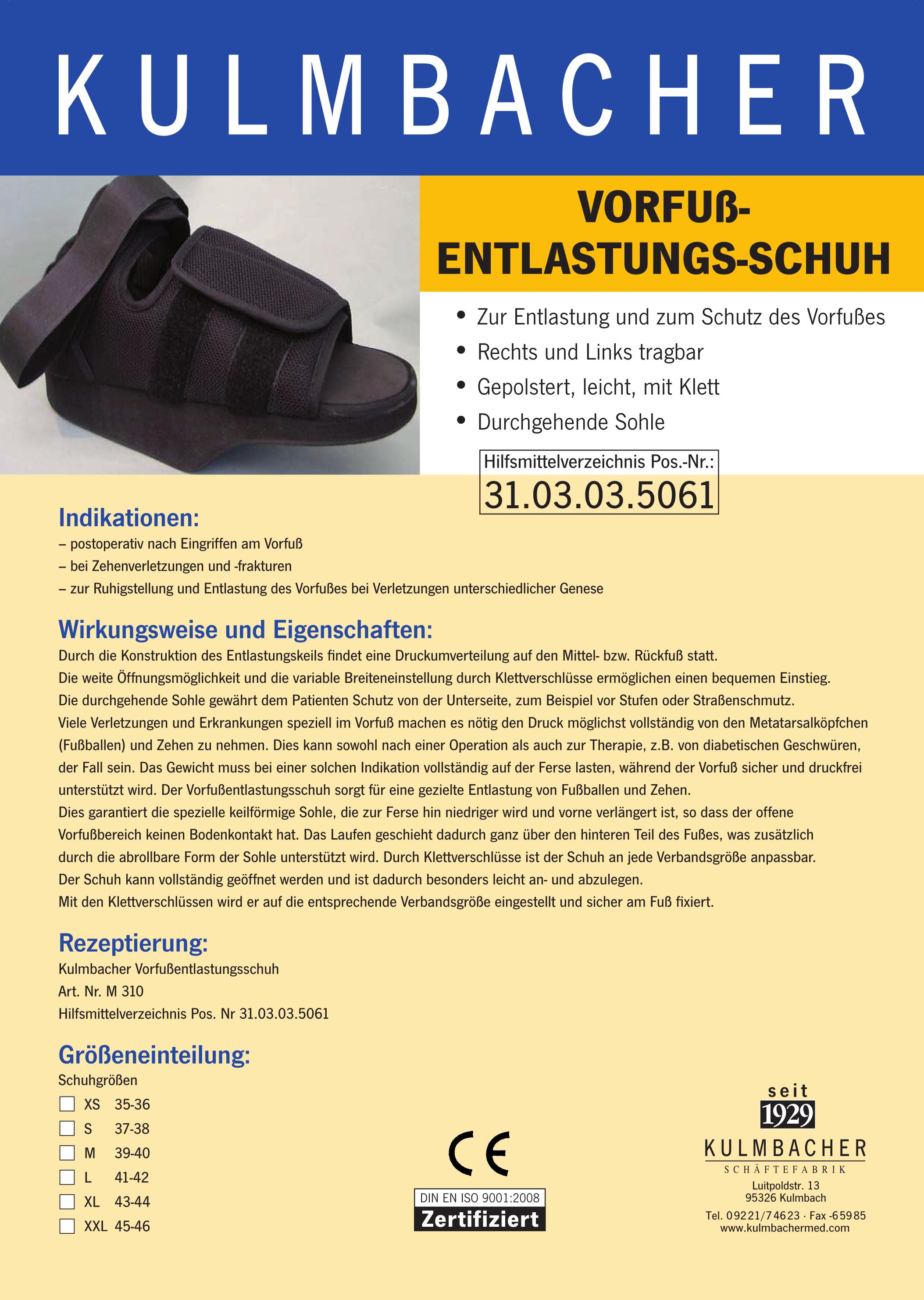 Vorfuß-Entlastungs-Schuh Prospekt