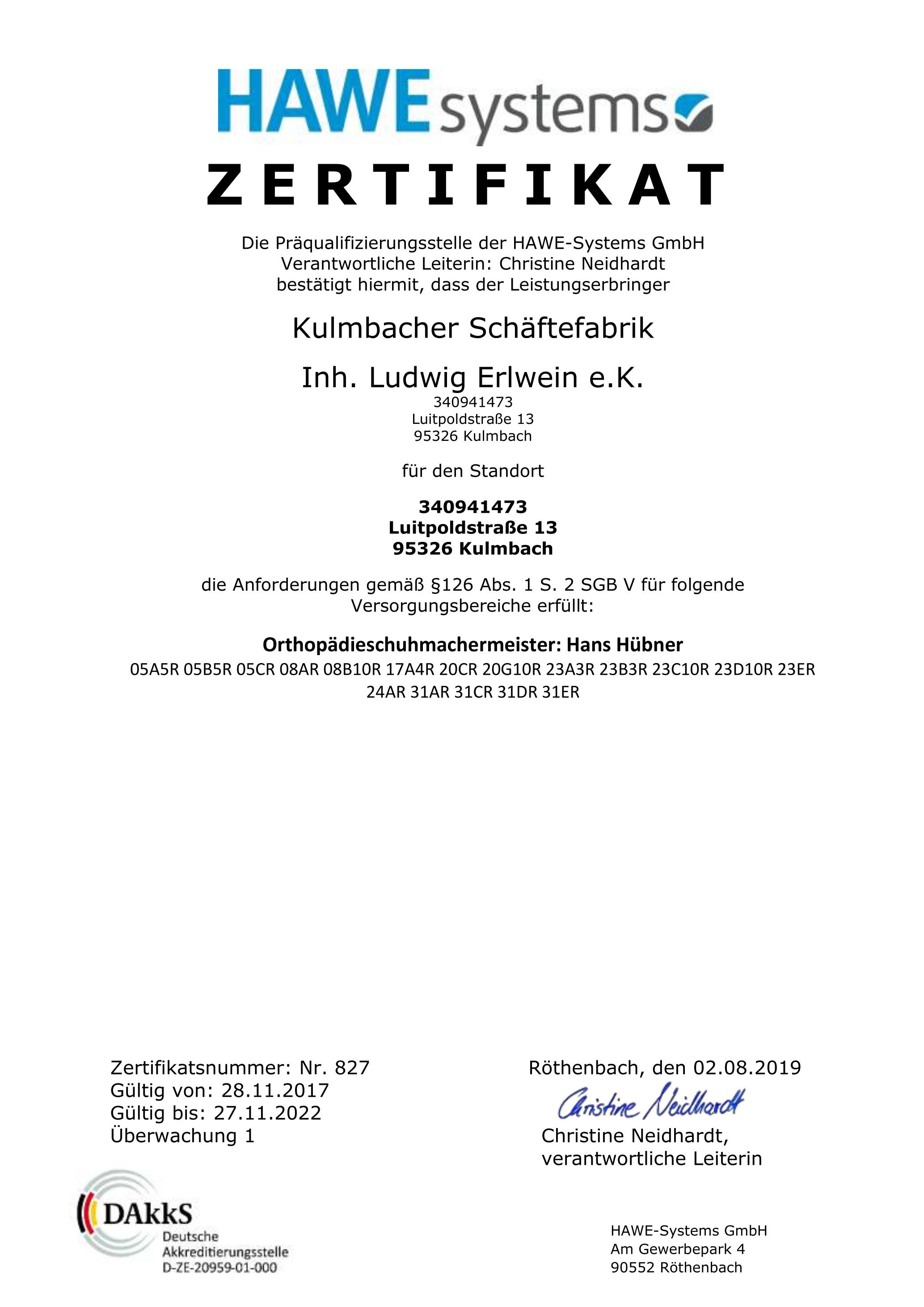 Zertifikat Präqualifizierung Kulmbacher Schäftefabrik 2019