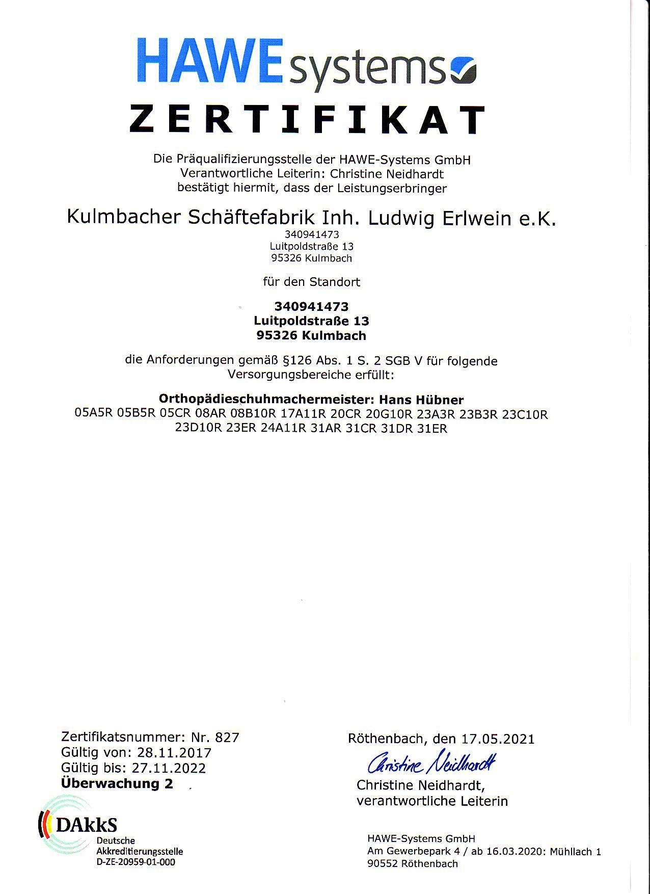 Zertifikat Präqualifizierung Kulmbacher Schäftefabrik 2021